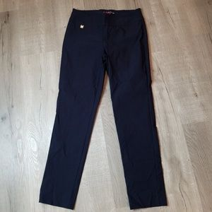 Peck & Peck navy blue skinny pull on pants 10